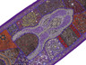 "Purple Sari Embellished Textile Tapestry - Indian Wall Hanging Sari Runner 60"" x 20"""