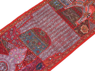 "Red Sari Embellished Textile Tapestry - Indian Wall Hanging Sari Runner 60"" x 20"""
