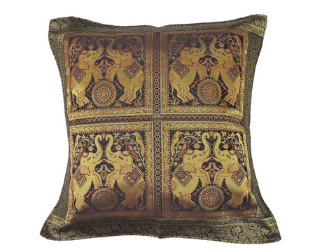 Black Gold Dancing Elephant Floor Pillow Cover - Trendy Large Euro Sham 26""