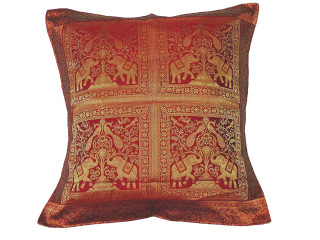 Maroon Gold Elephant Peacock Floor Pillow Cover - Trendy Large Euro Sham 26""