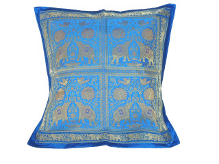 Blue Gold Elephant Peacock Floor Pillow Cover - Trendy Large Euro Sham 26""