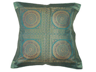 Teal Gold Mandala Floor Pillow Cover - Trendy Large Euro Sham 26""