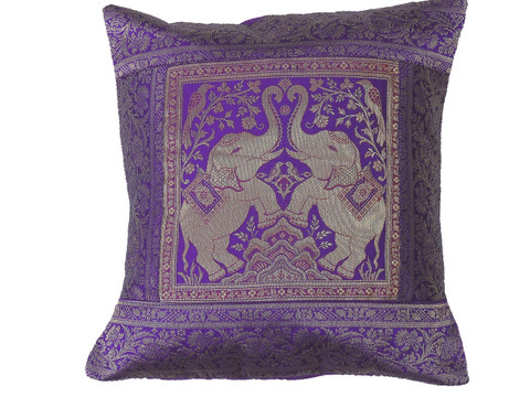 """Purple Dancing Elephant Throw Pillow Cover - Sari Brocade Accent Couch Cushion 16"""""""