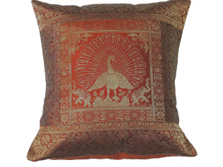 Russet Dancing Peacock Throw Pillow Cover - Sari Brocade Accent Couch Cushion 16""