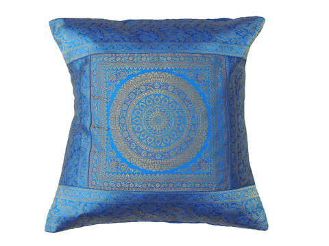 Blue Gold Mandala Throw Pillow Cover - Sari Brocade Accent Couch Cushion 16""