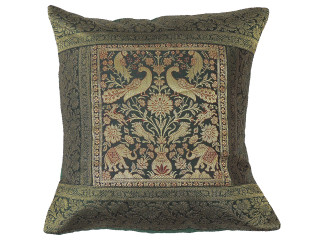 Forest Green Gold Peacock Throw Pillow Cover - Sari Brocade Accent Couch Cushion 16""