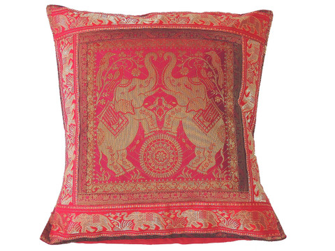 """Hot Pink Elephant Throw Pillow Cover - Sari Brocade Accent Couch Cushion 16"""""""