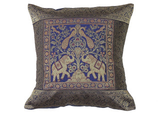 Navy Blue Elephant Peacock Throw Pillow Cover - Sari Brocade Accent Couch Cushion 16""