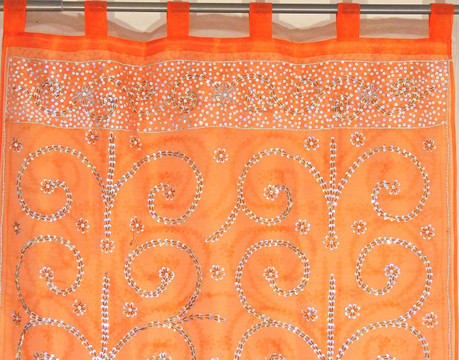 Orange Sheer Beaded Curtain Panel - Handmade Embroidered Indian Window Treatments 92""