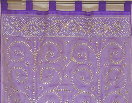 Purple Sheer Beaded Curtain Panel - Handmade Embroidered Indian Window Treatments 92""