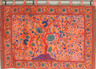 """Terracotta Indian Wall Hanging - Huge Cotton Fabric Tree of Life Tapestry 70"""" x 56"""""""