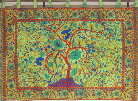 "Green Indian Wall Hanging - Huge Cotton Fabric Tree of Life Tapestry 80"" x 56"""