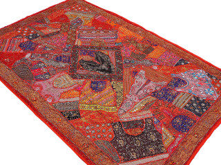 """Red Decorative Indian Wall Hanging - Handmade Beaded Embellished Textile Tapestry 90"""""""