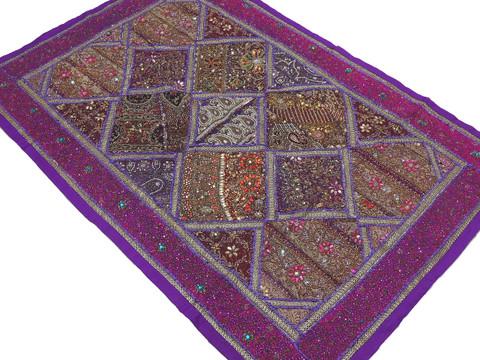 "Purple Magenta Indian Wall Hanging - Handmade Kundan Decorative Textile Tapestry 70"""