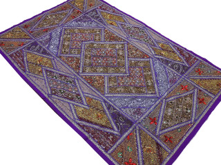 """Purple Brown Indian Wall Hanging - Handmade Beaded Exclusive Textile Tapestry 88"""""""