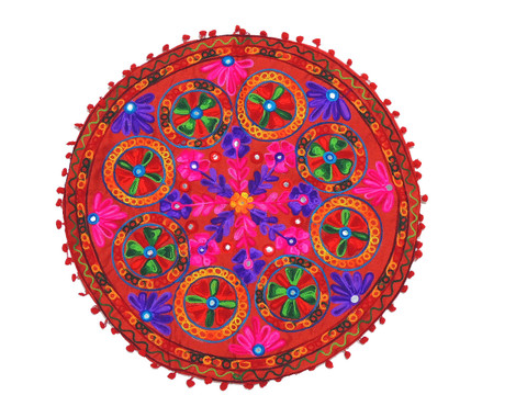 """Red Embroidered Round Pillow Cover - Decorative Indian Floor Cushion 24"""""""