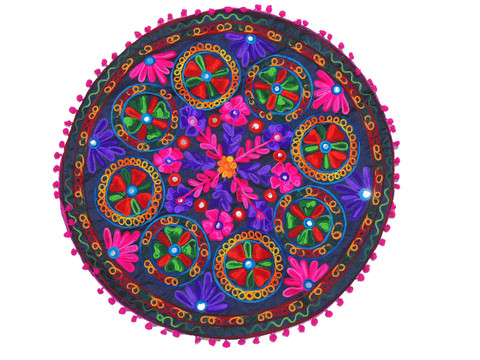 """Navy Blue Floral Embroidered Round Pillow Cover - Indian Floor Seating Cushion 24"""""""