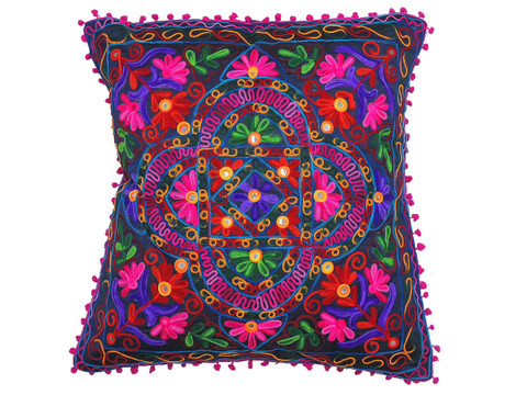"""Navy Blue with Multicolor Embroidery Pillow Case ~ Floor Handmade Large Euro Cushion ~ 24"""""""