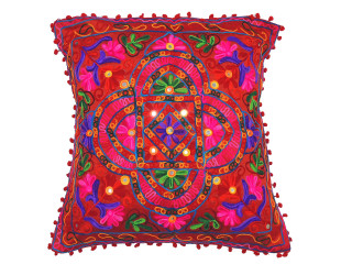 """Red with Multicolor Embroidery Pillow Case ~ Floor Handmade Large Euro Cushion ~ 24"""""""