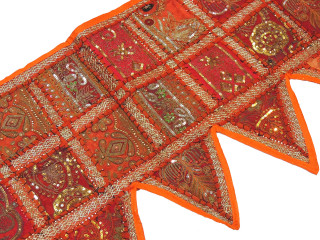 Orange Retro Style Window Valance - Beaded Fabric Door Topper Toran 60""