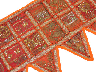 Orange Indian Window Treatments Valance - Elegant Beaded Fabric Topper Toran 60""