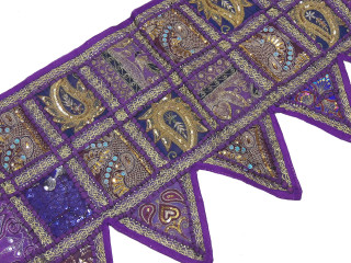 Purple Retro Style Window Valance - Beaded Fabric Door Topper Toran 60""