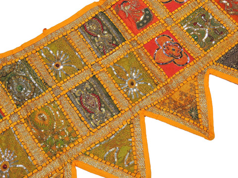Sunglow Yellow Handmade Living Room Valance - Indian Window Door Topper Toran 80""