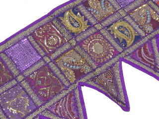 Purple Handmade Indian Window Treatments Valance - Elegant Patchwork Topper Toran 60""
