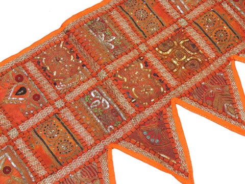 Orange Handmade Indian Window Treatments Valance - Elegant Patchwork Topper Toran 60""