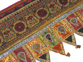 """Floral Fauna Embroidered Vintage Kutch Toran - Traditional Indian Window Topper 42"""" x 24"""""""