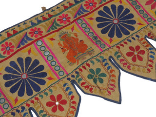 "Ganesha Brown Embroidered Door Toran - Vintage Indian Window Topper 42"" x 18"""