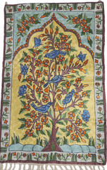 "Tree of Life Wall Tapestry - Crewel Silk Thread Embroidered Rug 36"" x 24"""