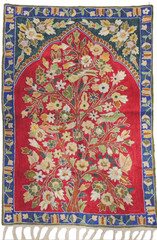 "Maroon Tree of Life Wall Tapestry - Crewel Silk Thread Embroidered Rug 36"" x 24"""