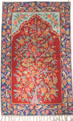 "Maroon Decorative Wall Rug - Silk Yarn Hand Embroidery Tree of Life Large Tapestry 48"" x 30"""