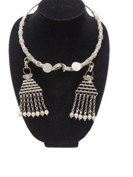 Vintage Retro Pewter Banjara Neck Ring - Authentic Handmade Necklace Jewelry