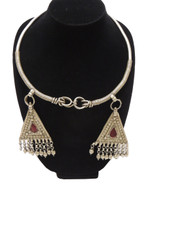Vintage Handmade Banjara Neck Ring Jewelry – Pewter Metal Gypsy Necklace