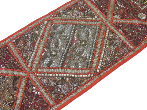 "Russet Sari Embellished Vintage Textile Tapestry - Indian Wall Hanging Table Runner 59"" x 19"""