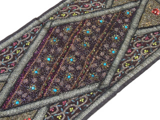 "Black Sari Embellished Vintage Textile Tapestry - Indian Wall Hanging Table Runner 59"" x 19"""
