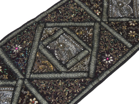 """Black Decorative Vintage Textile Tapestry - Indian Wall Hanging Decor Table Runner 59"""" x 19"""""""