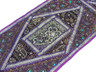 """Purple Sari Embellished Vintage Textile Tapestry - Indian Wall Hanging Table Runner 59"""" x 19"""""""