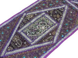"Purple Sari Embellished Vintage Textile Tapestry - Indian Wall Hanging Table Runner 59"" x 19"""
