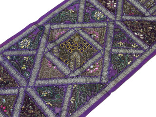 "Purple Decorative Vintage Textile Tapestry - Indian Wall Hanging Decor Table Runner 59"" x 19"""