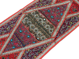 "Crimson Sari Embellished Vintage Textile Tapestry - Indian Wall Hanging Table Runner 59"" x 19"""