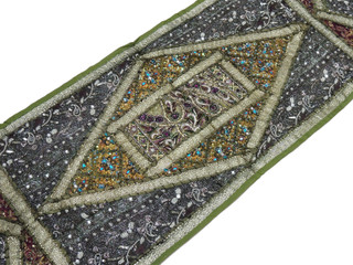 "Green Sari Embellished Vintage Textile Tapestry - Indian Wall Hanging Table Runner 59"" x 19"""