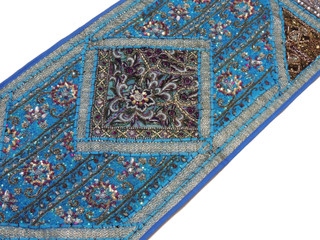 "Blue Sari Embellished Vintage Textile Tapestry - Indian Wall Hanging Table Runner 59"" x 19"""
