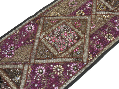 """Brown Decorative Vintage Textile Tapestry - Indian Wall Hanging Decor Table Runner 59"""" x 19"""""""