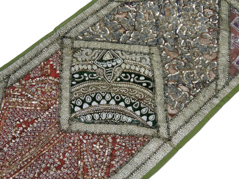 """Green Decorative Vintage Textile Tapestry - Indian Wall Hanging Decor Table Runner 59"""" x 19"""""""