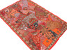 "Crimson Red Indian Wall Hanging - Handmade Vintage Kundan Decorative Textile Tapestry 70"""