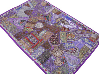 Purple Indian Wall Hanging - Handmade Vintage Kundan Decorative Textile Tapestry 70""