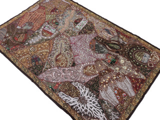 Brown Indian Wall Hanging - Handmade Vintage Kundan Decorative Textile Tapestry 70""